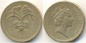 1 Pound United Kingdom (1922-) 黃銅/镍 伊丽莎白二世 (1926-)