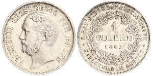 1 Gulden Grand-duché de Bade (1806-1918) Argent Frédéric Ier de Bade (1826-1907) (1826 - 1907)