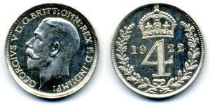 4 Penny Reino Unido (1922-) Plata Jorge V (1865-1936)