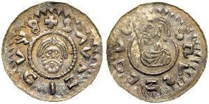 1 Denaro Boemia Argento Bretislaus II, Duke of Bohemia (1060-1100)