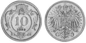 10 Heller Austria-Hungary (1867-1918) Nickel Franz Joseph I (1830 - 1916)