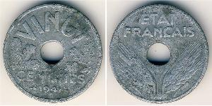 20 Centime Vichy France (1940-1944) Zinc