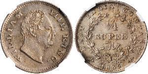 1/4 Rupee Britisches Weltreich (1497 - 1949) Silber Wilhelm IV (1765-1837)