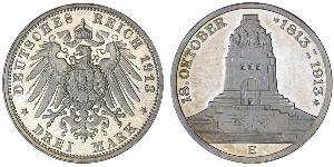 3 Mark Kingdom of Saxony (1806 - 1918) Silver