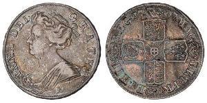 1/2 Crown Reino de Gran Bretaña (1707-1801) Plata Ana de Gran Bretaña(1665-1714)