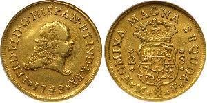 2 Escudo 新西班牙總督轄區 (1535 - 1821) 金 费尔南多六世 (1713-1759)