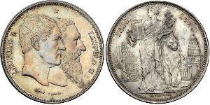 5 Franc Bélgica Plata Leopoldo I de Bélgica (1790-1865) / Leopold II (1835 - 1909)