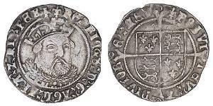 1 Groat Reino de Inglaterra (927-1649,1660-1707) Plata Enrique VIII (1491 - 1547)
