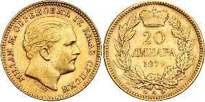20 Dinar Serbie Or Milan Ier de Serbie