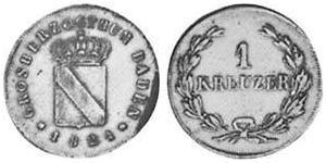 1 Kreuzer Grand Duchy of Baden (1806-1918) Rame