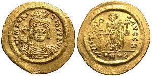 1 Solidus 拜占庭帝国 金 Maurice Tiberius (539-602)