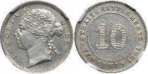 10 Cent Straits Settlements (1826 - 1946) Silver Victoria (1819 - 1901)
