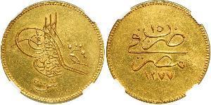 500 Пиастр Египетский хедиват (1867 - 1914) Золото Абдул-Азиз (1830 - 1876)