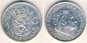1 Gulden Regno dei Paesi Bassi (1815 - ) Argento Guglielmina dei Paesi Bassi(1880 - 1962) / Juliana of the Netherlands (1909 – 2004)