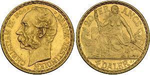 20 Франк / 4 Daler Данія Золото Крістіан IX король Данії (1818-1906)