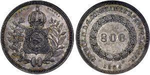 800 Reis Brésil / Empire du Brésil (1822-1889) Argent