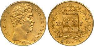 20 Franc Kingdom of France (1815-1830) Gold Karl X. von Frankreich (1757-1836)