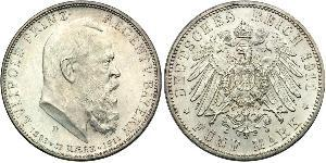 5 Mark Kingdom of Bavaria (1806 - 1918) Silver Otto of Bavaria (1848 – 1916)