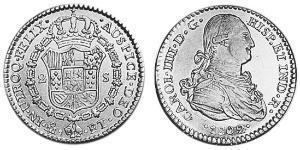 2 Escudo Vizekönigreich Neuspanien (1519 - 1821) Gold Karl IV (1748-1819)