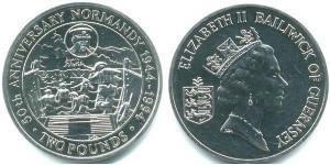 2 Pound Guernsey Rame/Nichel Elisabetta II (1926-)