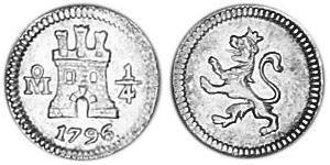 1/4 Real Virreinato de Nueva España (1519 - 1821) Plata
