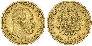 20 Mark Kingdom of Prussia (1701-1918) Gold Wilhelm I, German Emperor (1797-1888)