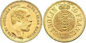 10 Franc / 1 Carolin Sweden Gold Oscar II of Sweden (1829-1907)