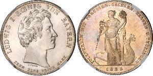 1 Thaler Regno di Baviera (1806 - 1918) Argento Ludovico I di Baviera (re)(1786 – 1868)
