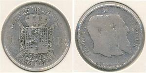 1 Франк Бельгія Срібло Леопольд II (1835 - 1909)