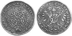 30 Kreuzer Duchy of Bavaria (907 - 1623) 銀 Albert V, Duke of Bavaria (1528 – 1579)
