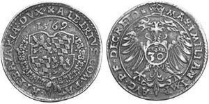 30 Kreuzer Ducato di Baviera (907 - 1623) Argento Alberto V di Baviera(1528 – 1579)