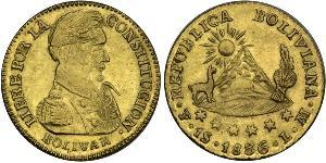 1 Escudo Bolivie (1825 - ) Or Simon Bolivar (1783 - 1830)