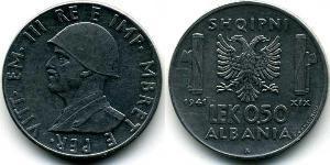 1/2 Lek Albanian Kingdom (1939-1943) Acero inoxidable Víctor Manuel III de Italia (1869 - 1947)