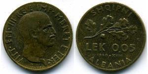 0,05 Lek Albanian Kingdom (1939-1943) Bronze/Aluminium Viktor Emanuel III. (Italien) (1869 - 1947)