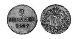 2 Pfennig Regno di Baviera (1806 - 1918) Rame Ludovico I di Baviera (re)(1786 – 1868)