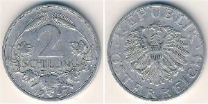 2 Shilling 同盟國軍事佔領奧地利 (1945 - 1955) 铝