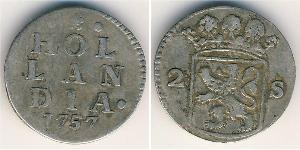 2 Стивер Республика Соединённых провинций (1581 - 1795) Серебро