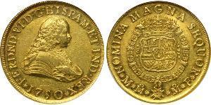 8 Эскудо Новая Испания (1519 - 1821) Золото Фердинанд VI  король Испании (1713-1759)