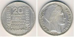 20 Franc Tercera República Francesa (1870-1940)  Plata