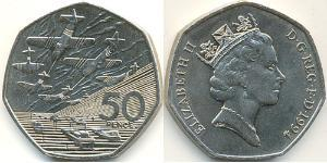 50 Penny United Kingdom (1922-) Copper/Nickel Elizabeth II (1926-)