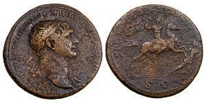 1 Сестерцій Римська імперія (27BC-395) Бронза Траян (53-117)