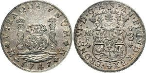 8 Real 新西班牙總督轄區 (1535 - 1821) 銀 费尔南多六世 (1713-1759)