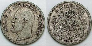 2 Krone Schweden Silber Oskar II. (Schweden) (1829-1907)