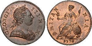 1/2 Penny 大不列顛王國 (1707 - 1800) 青铜 喬治三世 (1738-1820)