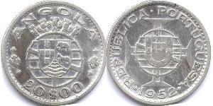 20 Escudo Portuguese Angola (1575-1975) / Portugal Argent