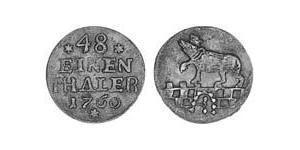 1/48 Thaler Anhalt-Bernburg (1603 - 1863) Vellón Plata Victor Frederick, Prince of Anhalt-Bernburg (1700 – 1765)