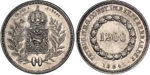 1200 Reis Impero del Brasile (1822-1889) Argento