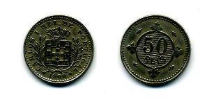 50 Reis Kingdom of Portugal (1139-1910) Kupfer/Nickel  Karl I. von Portugal (1863-1908)