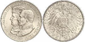 2 Mark Royaume de Saxe (1806 - 1918) Argent Frédéric-Auguste III de Saxe (1865-1932)