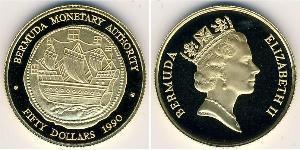 50 Dólar Bermudas Oro Isabel II (1926-)